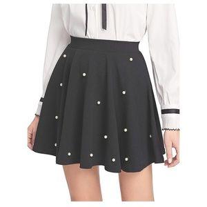 CHERISE Pearl Embellished Black Skater Skirt